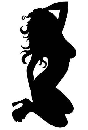 sillhoette de mujer sexy aislada en blanco Ilustración de vector