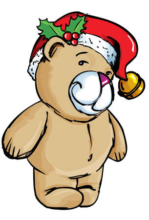 Cartoon Bear with santa hat. Isolated on white Vector
