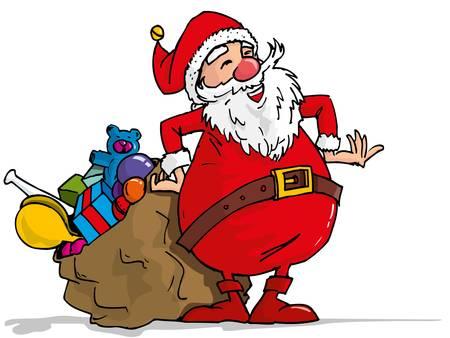 Cartoon Santa with a white beard. Isolated on white Vector