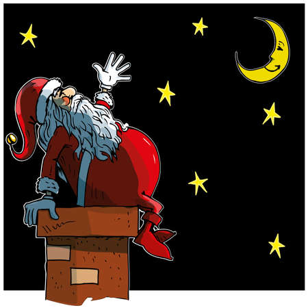 Cartoon Santa loooking at the moon and stars at night Vector
