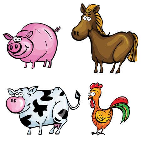 hocico: Conjunto de dibujos animados de animales de granja aislada en blanco Vectores