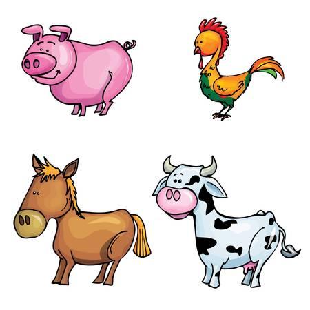 Cartoon set of farm animals isolated on white Stock Vector - 9390257
