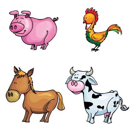 Cartoon set of farm animals isolated on white Vector