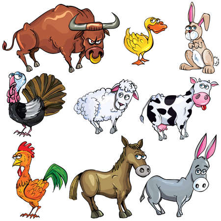 Cartoon set of farm animals isolated on white Stock Vector - 9390263