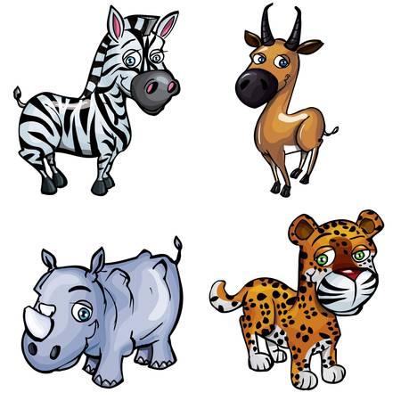 Set of cartoon wild animals isolated on white