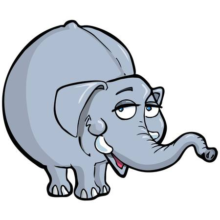 Cartoon of a smiling elephant. Isolated on white Stock Vector - 9390247