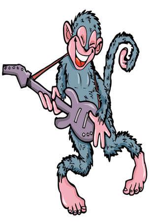 Mono de dibujos animados, tocando la guitarra aislado en blanco Foto de archivo - 9390254