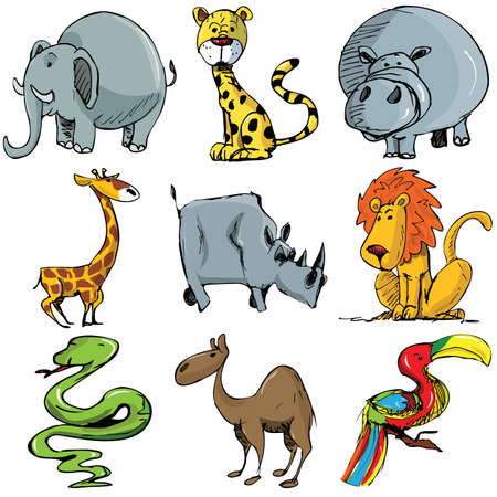animals in the wild: Set of cartoon wild animals isolated on white