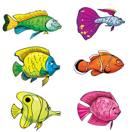 Cartoon set of tropical fish. Isolated on white