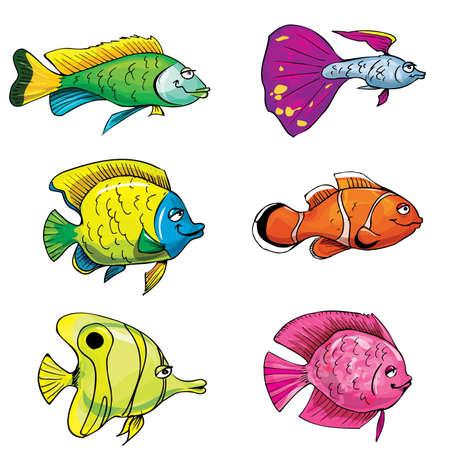 Ensemble de dessin animé de poissons tropicaux. Isolé sur fond blanc