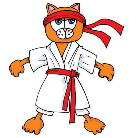 Cartoon cat in karate outfit. Isolated on white Illustration