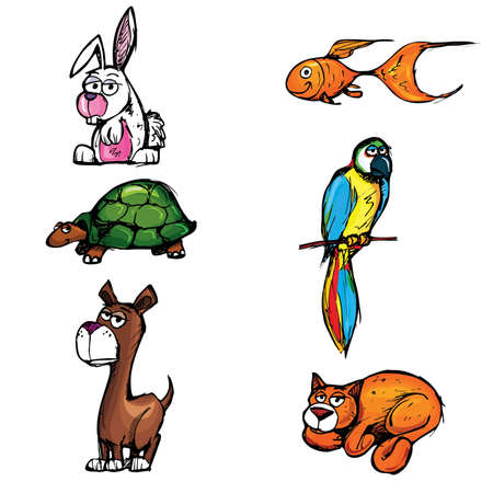 Set of cartoon pets. Isolated on white Vector