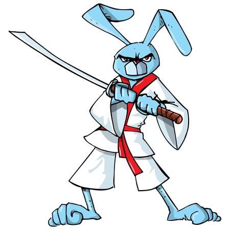 samurai sword: Cartoon samurai bunny with a samurai sword