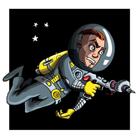 Cartoon astronaout in a space suit. Blackness and stars behind Vector