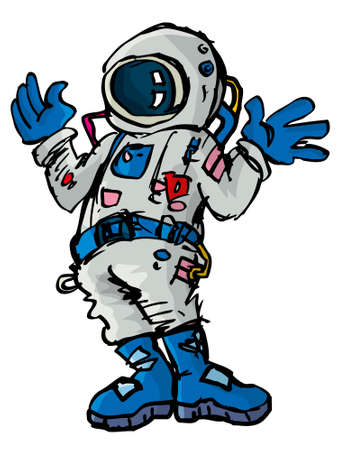 space suit: Cartoon astronaout in a space suit. Isolated on white