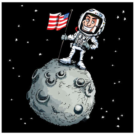 celestial: Cartoon astronaout on the moon with an American flag Illustration