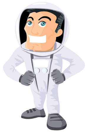 Cartoon astronaout in a space suit. Isolated on white Vector