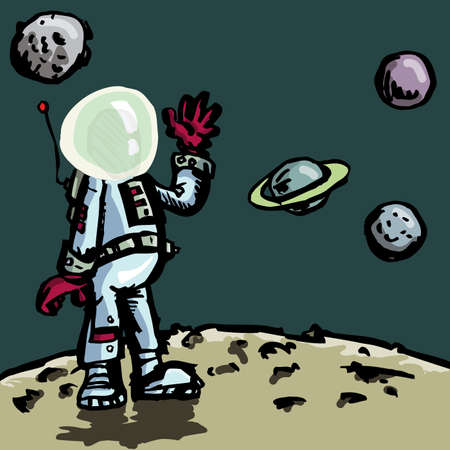 astro: Cartoon astronaut in a space suit. Planets behind