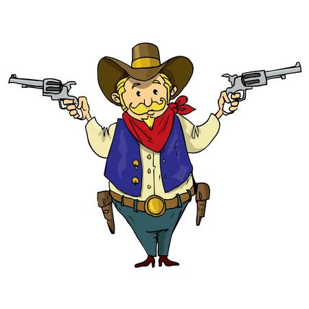 Cartoon cowboy with six-guns. Isolated on white Vector