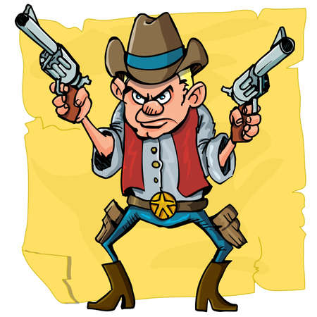 Cute cartoon cowboy holding sixguns. Isolated on distressed paper design Stock Vector - 9390284