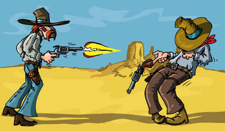 resultado: Cartoon cowboy shootout with tragic result in the desert