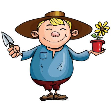 gardener: Cartoon gardener with pot plant. Isolated on white Illustration