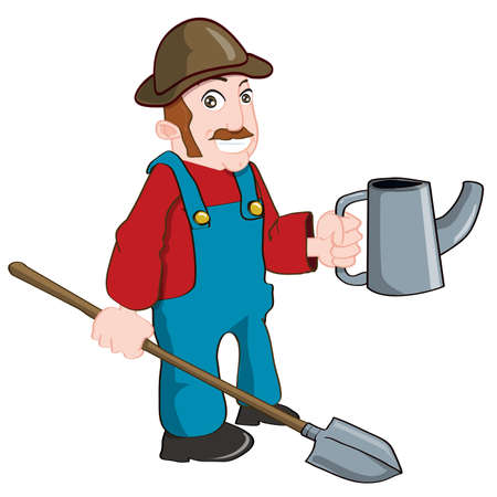 Cartoon farmer with a watering can and a spade. Isolated on white Stock Vector - 9403557