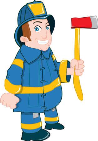 axe: Cartoon fireman with axe. Isolated on white Illustration