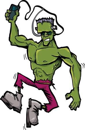 awkward: Monstruo de Frankenstein de dibujos animados con reproductor de MP3. Aislados en blanco