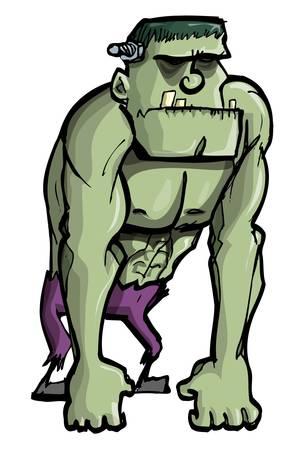 awkward: Monstruo de Frankenstein de dibujos animados verde aislado en blanco Vectores