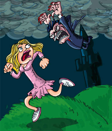 Carton of small vampire attacking girl. Castle in back ground Vector