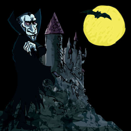 Cartoon Vampire with a castle and moon in the background Vector