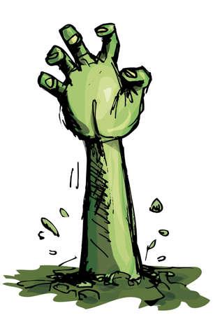 tombes: Cartoon d'une main zombie vertes qui sortent de la terre