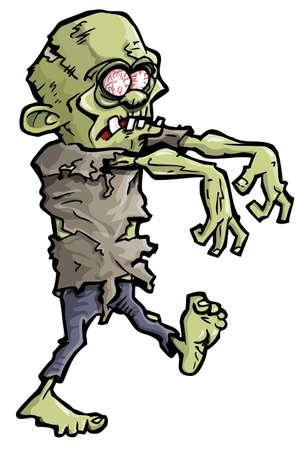 Caricatura de una mano de zombie verde que sale de la tierra Ilustración de vector
