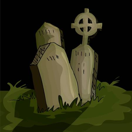 Gravestones in a graveyard in the night time Vector