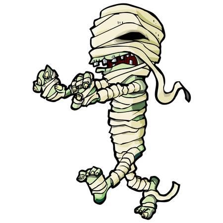 mummie: Cartoon Egyptische mummie. Geïsoleerd op wit Stock Illustratie