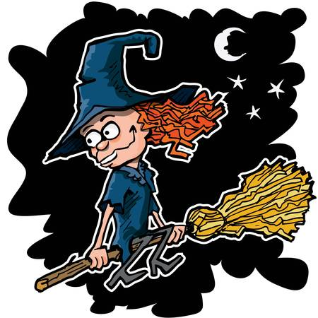 Cartoon witch on a broom flying at night Vector