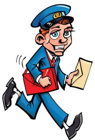 Cartoon Mailman Bereitstellung von Mail. Isoliert auf weiss Vektorgrafik
