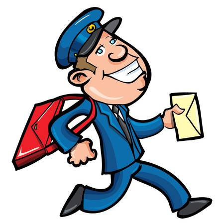 mail man: Cartero de dibujos animados entregar correo. Aislados en blanco Vectores