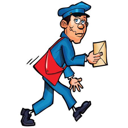 cartero: Cartero de dibujos animados entregar correo. Aislados en blanco Vectores