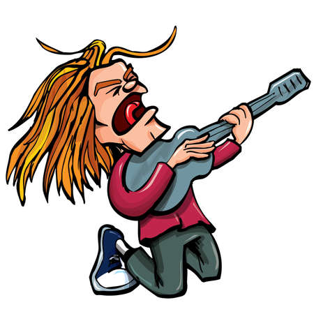 Cantante de rock de dibujos animados con guitarra.Aislados en blanco