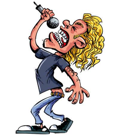 Cartoon-Rock-Sängerin mit Mikrofon. Isoliert auf weiss Vektorgrafik