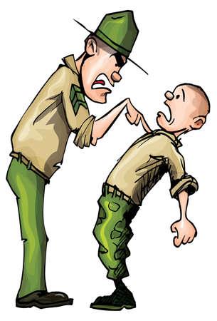 Sargento de taladro de dibujos animados enojado gritando en ira