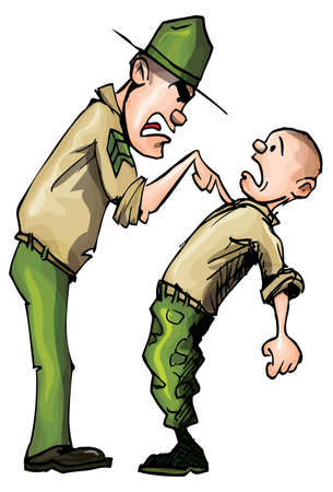 cartoon soldat: Schreiend in Wut wütend Cartoon-Ausbilder