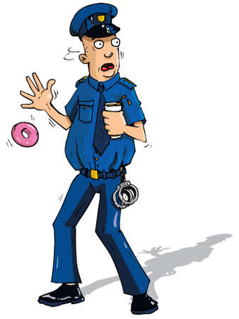 patrolman: Cartoon policeman surpised by something dropping his doughnut