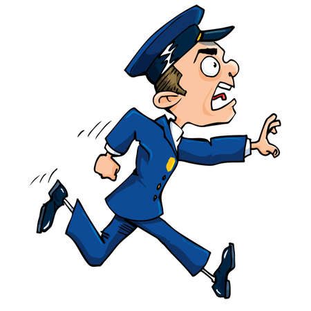 Cartoon policeman running calling out. Isolated on white. Vector