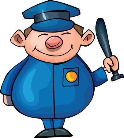 security officer: Cute Cartoon policeman with night stick . Isolated on white
