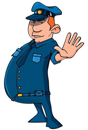 gorra policía: Policía de dibujos animados con su mano. Aislados en blanco