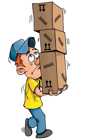 move: Cartoon delivery man carrying a stack of boxes. Isolated on white