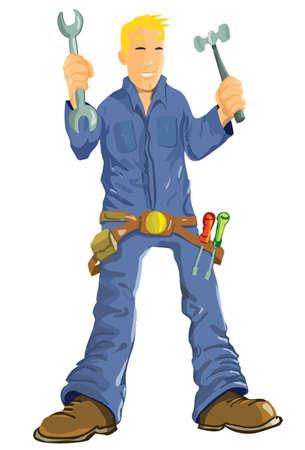 tornavida: Cartoon mechanic with tools. Isolated on white